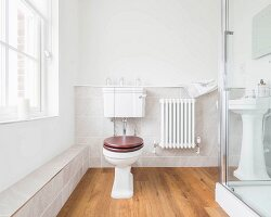 A bright guest bathroom with pedestal WC and low shelf