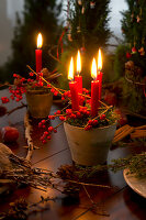 Moss, candles and holly berries held in terracotta pots with wire