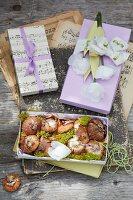Schachteln aus Papier mit Papierblumen und Blumenzwiebeln