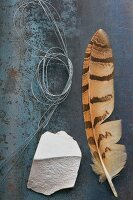 Decorative items: feather, wire and chunk of chalk