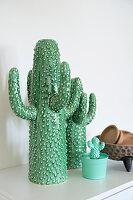 Arrangement of ceramic cacti