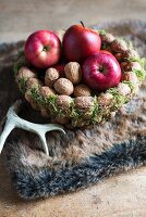 Walnuts and apples in basket made from threaded walnuts (Christmas arrangement)