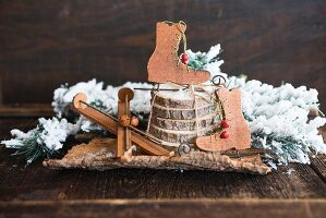 Christmas arrangement of ice-skate and ski decorations
