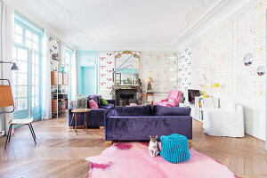 Cat sitting in colourful living room in French period building