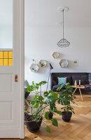 Houseplants on floor in front of open double doors in period apartment