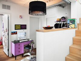Purple desk on landing