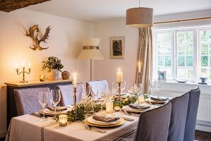 Festively set table with inviting candlelight