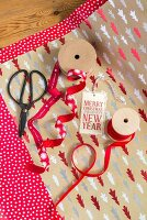 Christmas wrapping materials in shades of red