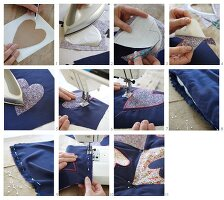Instructions for sewing a quilt with love-heart motifs