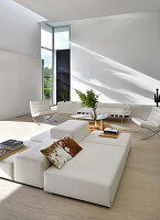 Designer furniture in white modern living room