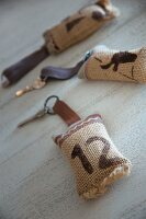 Key fobs made from printed hessian and leather