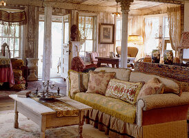 Antique furniture in studio apartment with melancholy charm