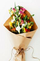 Bouquet of colourful freesias being wrapped in brown paper