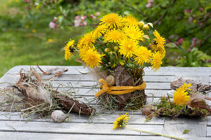 Meadow bouquet made of Taraxacum (dandelion) and Lamium Galeobdolon