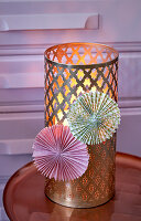 Pink and green paper rosettes on gold, Oriental lantern
