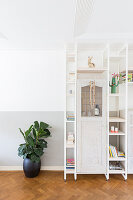 Modern shelves with old door against two-tone wall