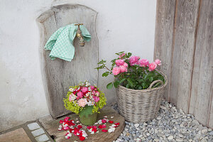 Bouquet of roses, lady's mantle and fruit blossom and basket of roses arranged around garden tap