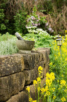Stone pestle and mortar on stone wall of raised bed in garden