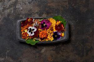 Various flowers in dark casserole dish