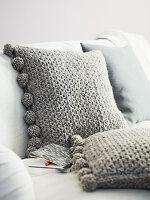 Homemade crocheted cushions