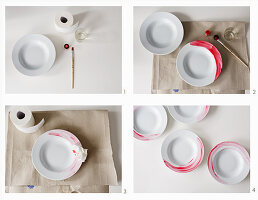 Painting plates with porcelain paint