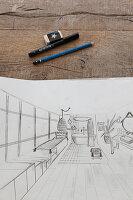 Skizze eines Badezimmers