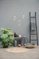 Aralia and ethnic-style bathroom utensils against grey wall