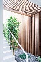 Innenhof mit Grünpflanzen, Kiesboden, Holzwand und Treppenaufgang
