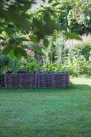 Blick auf Hochbeet aus Weidenästen im Garten