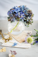 Blue hydrangeas in glass vase on grey surface