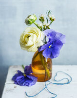 Posy of ranunculus and violas