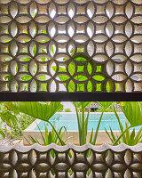 Halboffene Mauer zur Belüftung mit Ornamentmuster