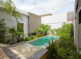 Langer Pool im Innenhof eines exotischen Hauses