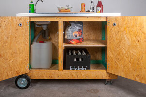 DIY mobile outdoor kitchen with open doors
