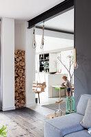 Swing in doorway between living room and kitchen