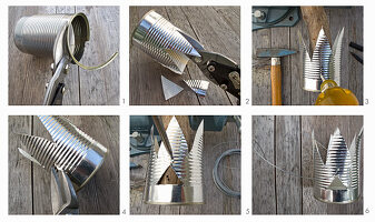 Instructions for making candle lanterns from tin cans