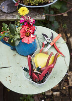 Gardening tools and jug of flowers on garden table