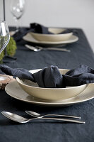 Table set with dark linens and beige crockery