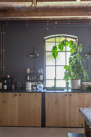Base cabinet with wooden doors in kitchen with dark grey walls