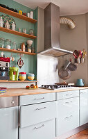 White kitchen counter with extractor hook and shelves on wall in green niche