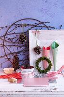 Various craft utensils for making Christmas wreaths