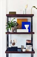 Houseplants and ornaments on shelves