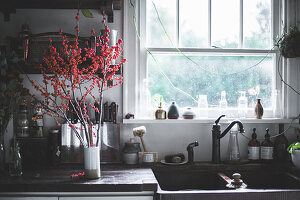 Branches with red berries in white ceramic vase on kitchen counter next to sink