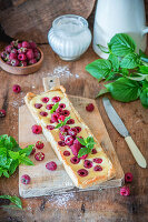 Raspberry and cream cheese tart