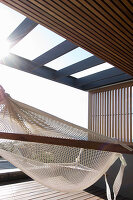 Hammock on partially roofed terrace