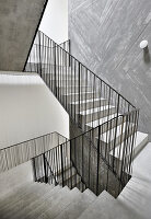 Concrete staircase with metal banisters in stairwell