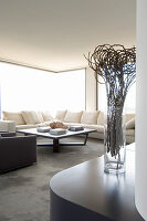 Cream sofa and glass walls in living room