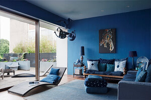 Blue living room with french window