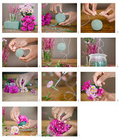 Instructions for making flower balls made from chrysanthemums and heather