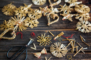Straw stars, straw decorations and craft materials